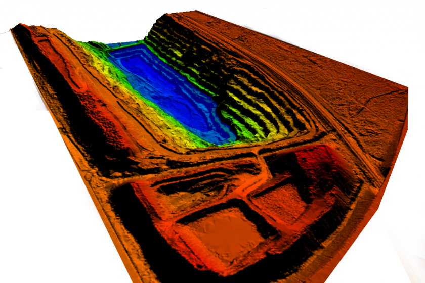 Image of a LiDAR Survey taken of a mining pit by Promap in South Africa